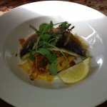 Sea bass on papardelle
