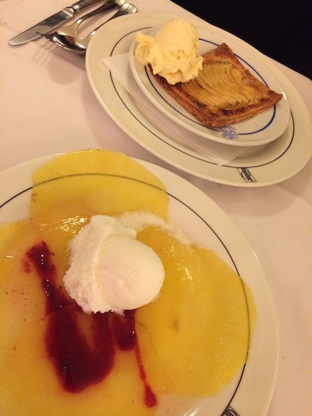 Pineapple carpaccio & apple tart